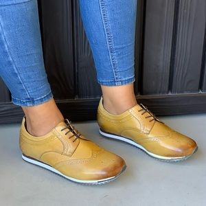 Gatsby Mustard Wingtip Leather Classic Oxfords